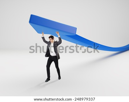 Man with blue arrow concept