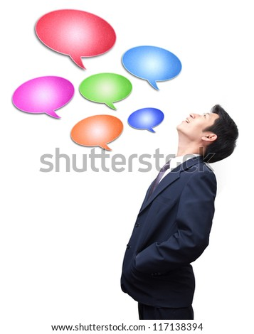 man with blue speech bubble