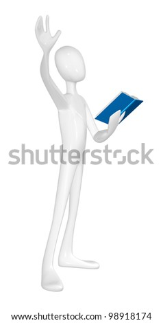 Man with book isolated on white background.