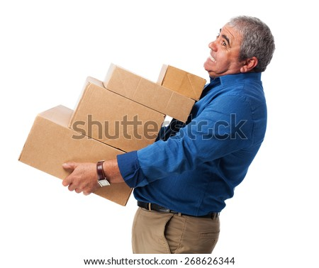 man with boxes - stock photo