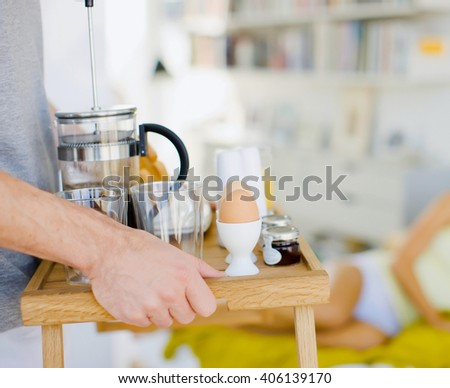 man with breakfast