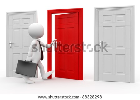 Man with briefcase entering a red door - stock photo