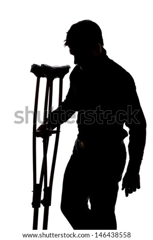 Man with broken leg in silhouette isolated over white background  - stock photo