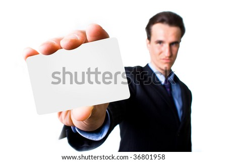 man with business card on white