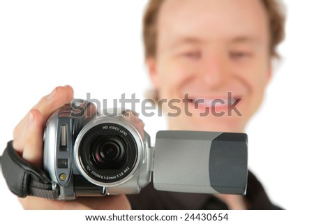 Man with camcorder - stock photo