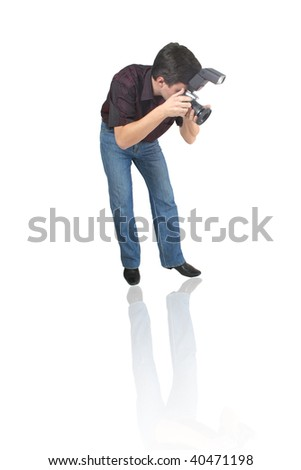 man with camera at white background