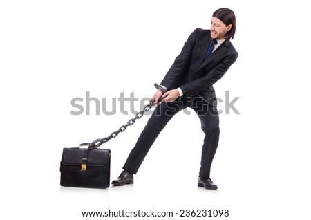 Man with chain isolated on the white - stock photo