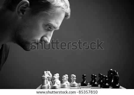 man with chess - stock photo