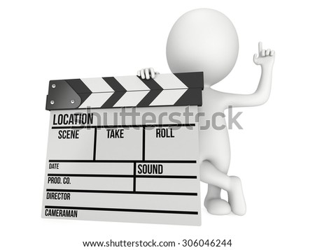 Man with cinema clapperboard. 3D render isolated on white. Filmmaking and video production. - stock photo