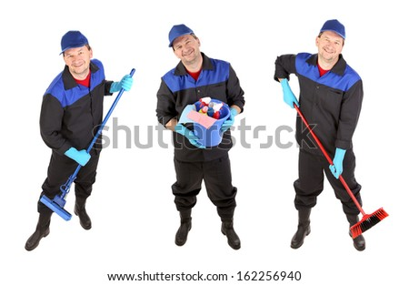 Man with cleaning broom. Isolated on a white background.