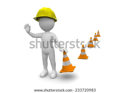 Man With Construction Cones isolated on white background