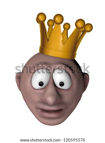 man with crown on his head - 3d illustration