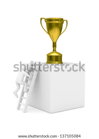 man with cup on podium. Isolated 3D image - stock photo