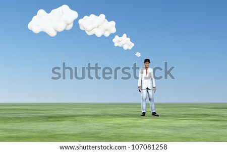 Man with 3D white thought clouds - stock photo