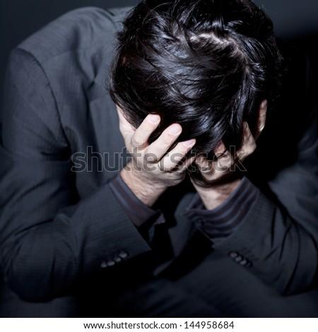 man with depression - stock photo
