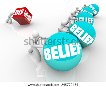 Man with disbelief fails or loses in race or life against other people with belief, confident in their faith or abilities and winning or succeeding - stock photo
