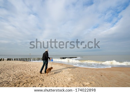 man with dog at the beach in Dutch Zeeland - stock photo