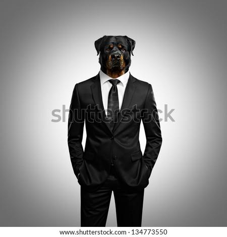 man with dog head - stock photo