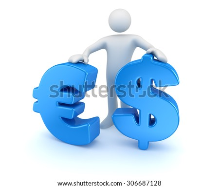 Man with dollar and euro symbol , This is a computer generated and 3d rendered image. - stock photo