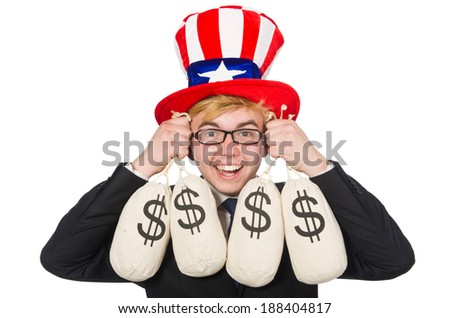 Man with dollar sacks on white