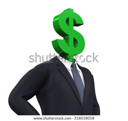 Man with Dollar Symbol Head - stock photo