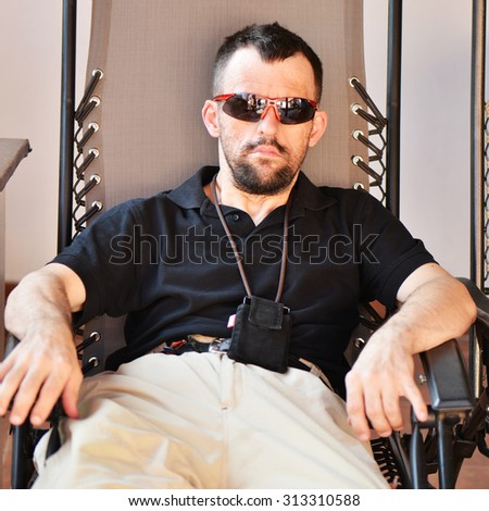 man with down syndrome - stock photo