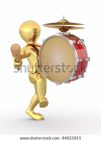 Man with drum and drumstick on white isolated background. 3d - stock photo