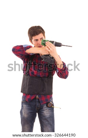 man with electric drill on a white background, handyman
