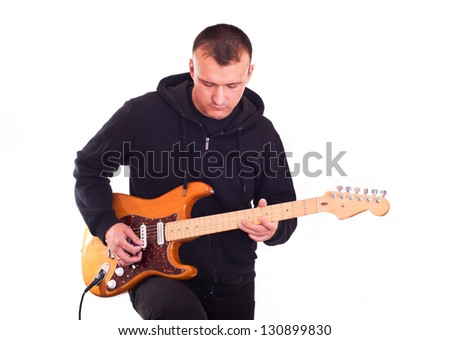 man with electric guitar - stock photo