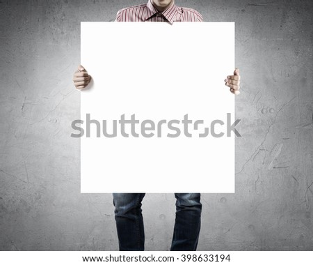 Man with empty banner