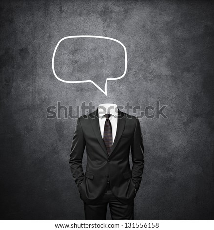 man with empty bubbles speech instead of head - stock photo