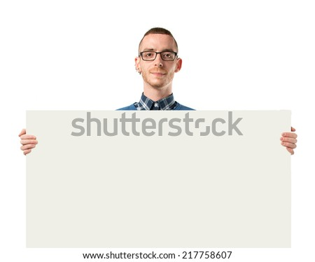 Man with empty placard over isolated white background
