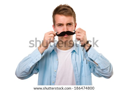 Man with fake mustaches - stock photo