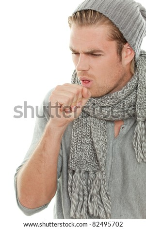 man with fist cough - stock photo