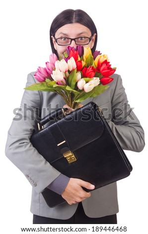 Man with flowers isolated on the white - stock photo