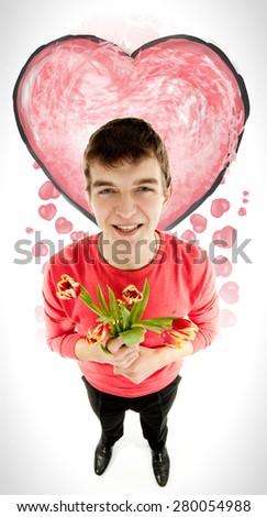 Man with flowers on white background. - stock photo