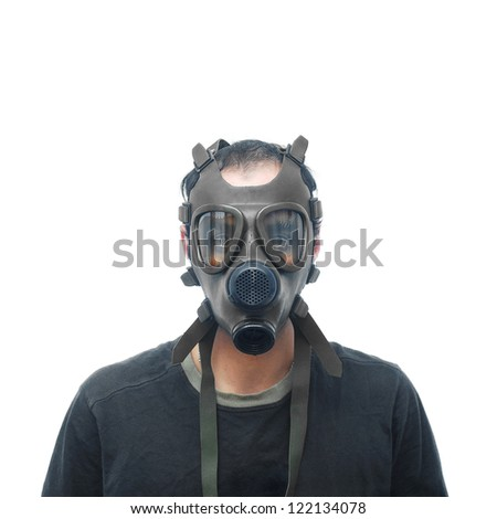 man with gas mask - stock photo