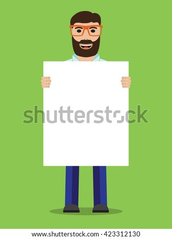 Man with glasses holding placard - stock photo