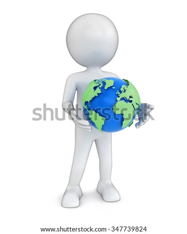 Man with globe. Image with clipping path Elements of this image furnished by NASA