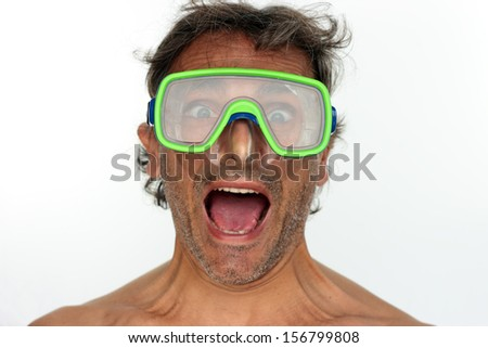 Man with goggles. Studio shot. White background - stock photo