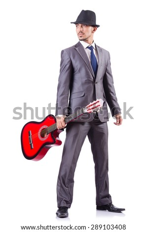Man with guitar isolated on white - stock photo