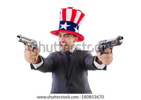 Man with gun and american hat - stock photo