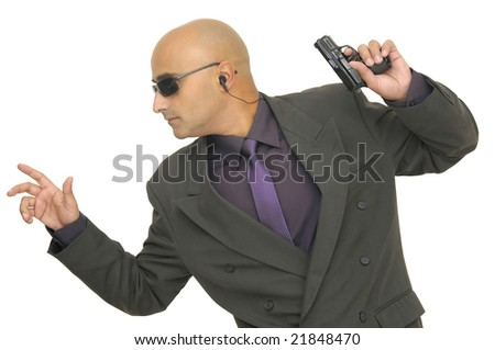 Man with gun isolated against a white background