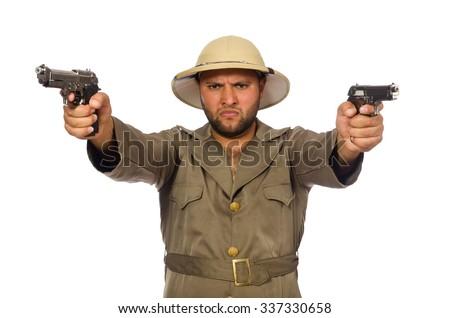 Man with gun isolated on white - stock photo