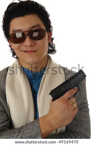 man with gun portrait on a white - stock photo