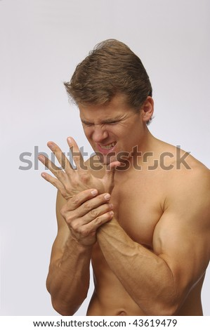 Man with hand wrist pain
