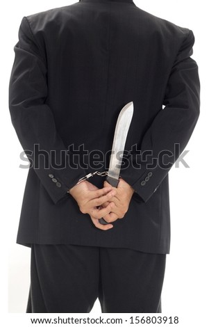 Man with handcuff and knife
