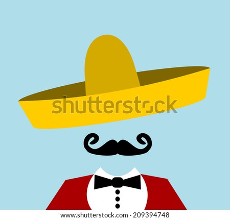 man with handlebar mustache and sombrero - stock photo