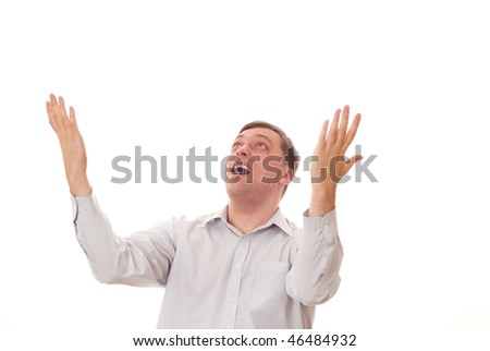 man with hands folded on white - stock photo