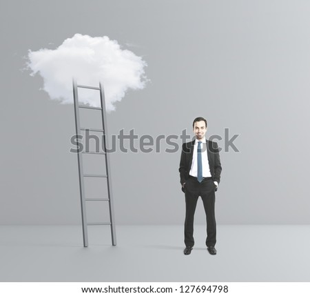 man with hands in pocket and cloud